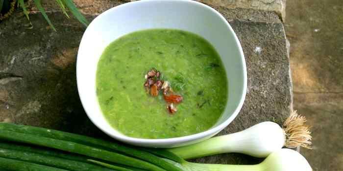 Frische Frühlingskräuter Suppe