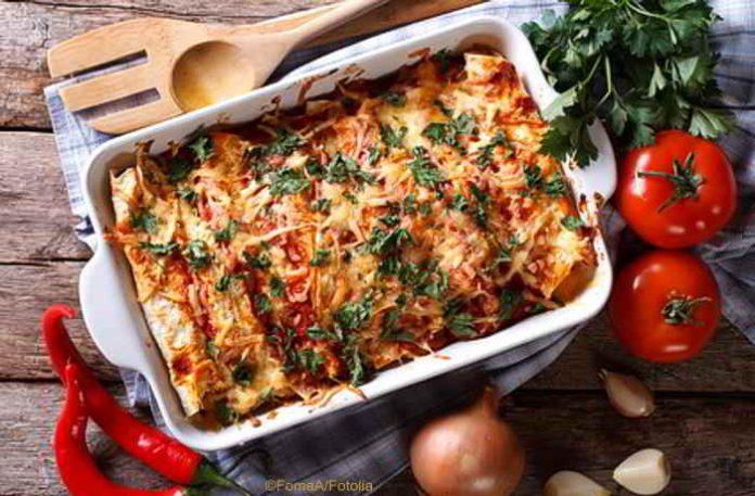 Tortilla Auflauf mit Mais und Chili - glutenfrei und vegan