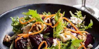 Wintersalat mit Rote Bete, Walnüssen und geräuchertem Tofu